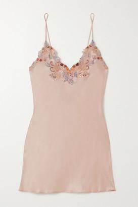 La Perla Maison Rainbow Embroidered Lace-trimmed Silk-satin Chemise - Blush