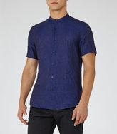 Reiss Raffi Linen Grandad Collar Shirt