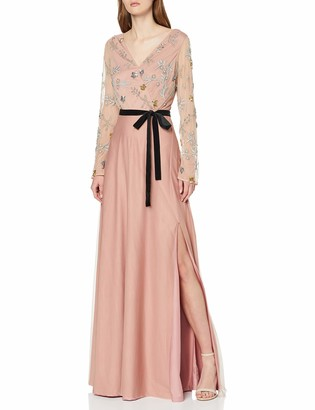 Frock and Frill Women's Faye Embellished Wrap Long Sleeve Maxi Party Dress