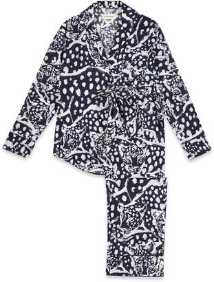 Moon + Mellow Leopard Navy Long Set - 100% Organic Cotton