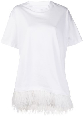 Marques Almeida oversized feather trimmed T-shirt
