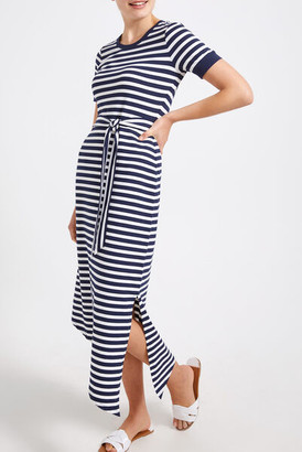 Sportscraft Oraz Navy Midi Stripe Dress