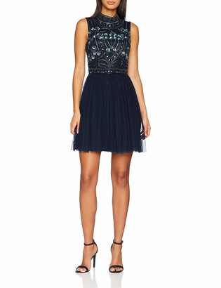 Frock and Frill Women's Embellished high Neck Skater Dress Party