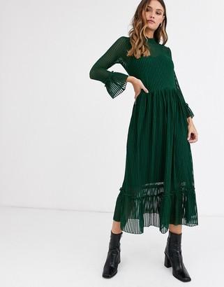 Y.A.S sheer stripe mesh midi dress-Blue