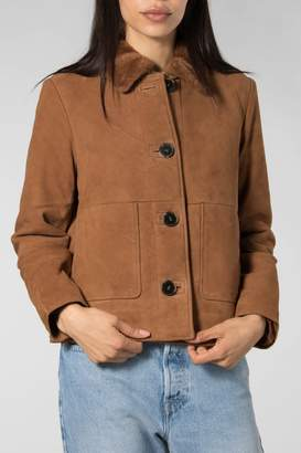 Selected Cognac Gini Suede Fur Jacket - 38