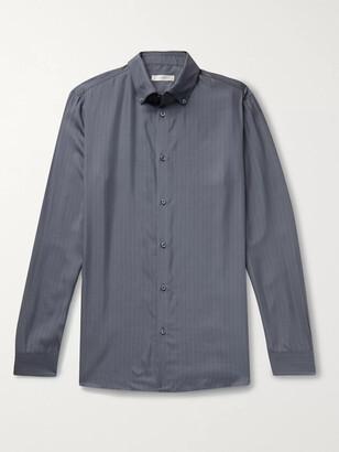 The Row Robert Button-Down Collar Striped Silk Shirt