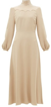 Valentino Tie-neck Silk-cady Midi Dress - Womens - Light Pink