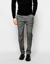 Asos Slim Suit Trousers In Salt And Pepper Fabric