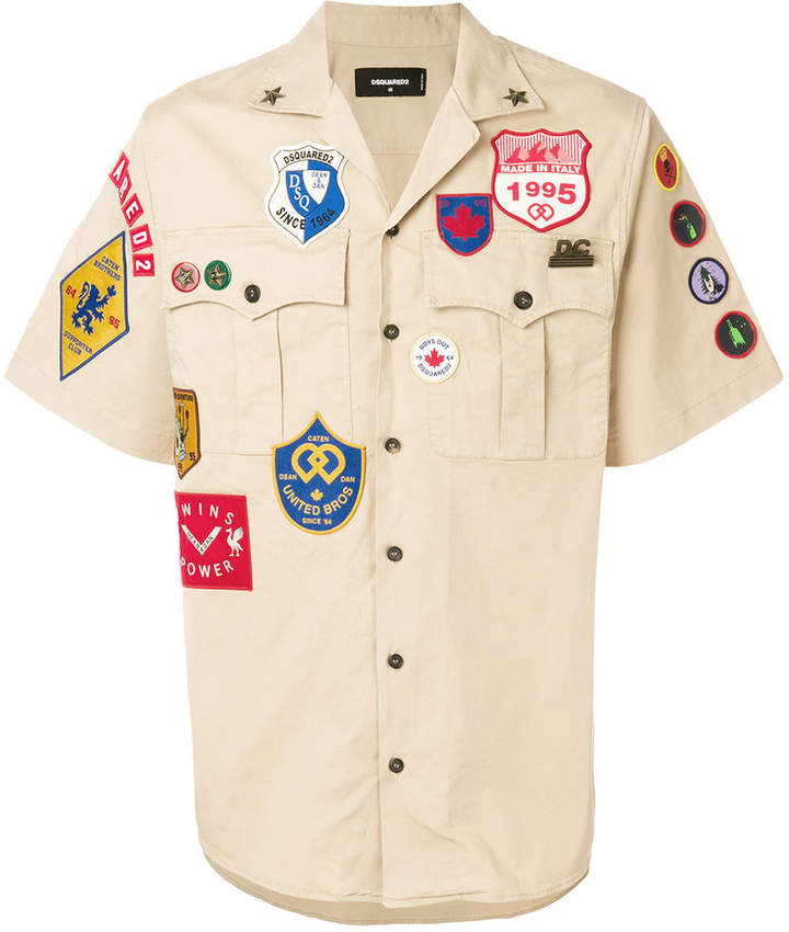DSQUARED2 patch embellished scout shirt