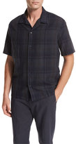 Vince Plaid Short-Sleeve Cabana Shirt, Black
