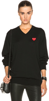 Comme des Garcons Wool Jersey Intarsia Red Emblem Sweater