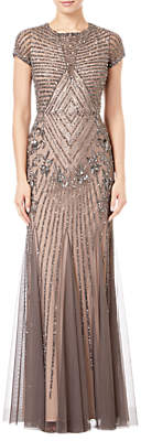 Adrianna Papell Short Sleeve Beaded Godet Gown, Lead/Nude