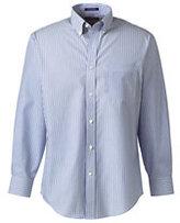 Lands' End Men's Big Long Sleeve Buttondown No Iron Pattern Broadcloth Shirt-True Blue Multi Stripe