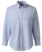 Lands' End Men's Tall Long Sleeve Buttondown No Iron Pattern Broadcloth Shirt-True Blue Multi Stripe