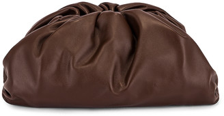 Bottega Veneta Leather Pouch Clutch in Brownie & Gold | FWRD