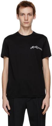 Alexander McQueen Black Embroidered Logo T-Shirt