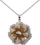 Splendid Pearls Silver 6-7Mm Pearl & Cz Necklace