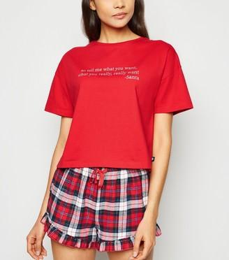 New Look Check Christmas Slogan Pyjama Set