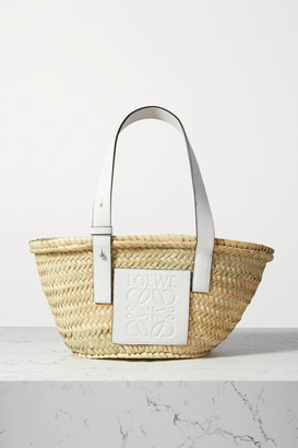Loewe Small Leather-trimmed Woven Raffia Tote - White