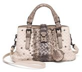 Bottega Veneta Roma Exotic Snakeskin & Intrecciato Leather Tote