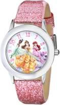 Disney Kids' W000408 Tween Glitz Princess Stainless Steel Glitter Leather Strap Watch