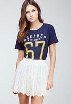 Forever 21 FOREVER 21+ Embroidered Mesh Overlay Skirt