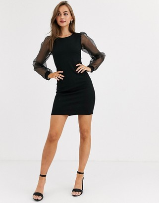 Pieces round neck mini dress with sheer volume sleeves-Black