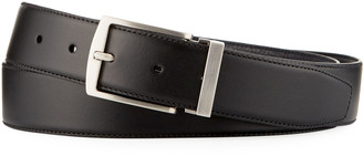 Giorgio Armani Men's Dual-Textured Leather Belt, Black/Blue