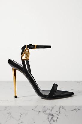 Tom Ford Padlock Embellished Velvet Sandals - Black