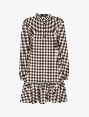 Whistles Gingham ruffle-trimmed woven mini dress