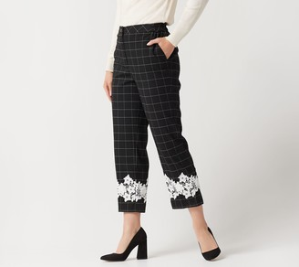 Linea by Louis Dell'Olio Petite Windowpane Crop Pants w/ Lace