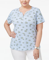 Karen Scott Plus Size Printed Henley T-Shirt, Created for Macy's