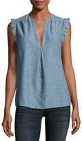 Joie Blaine Sleeveless Chambray Top, Blue