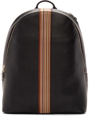 Paul Smith Black Leather Signature Stripe Backpack