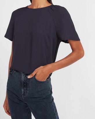 Express Smocked Shoulder Short Sleeve Top