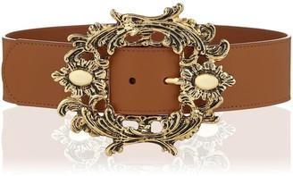 Camel Metallic Buckle Leather Belt