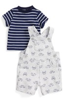 Little Me Infant Boy's Stripe Shirt & Cars Print Overalls Set