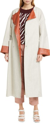 Rodebjer Portia Faux Leather Lined Linen Blend Coat