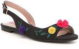 Betsey Johnson Eyrica Floral Embroidered Pom-Pom Detail D'Orsay Slingback Flats