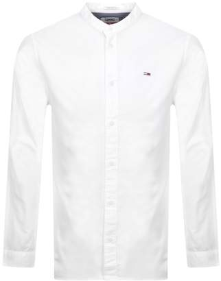 Tommy Jeans Long Sleeved Mandarin Shirt White