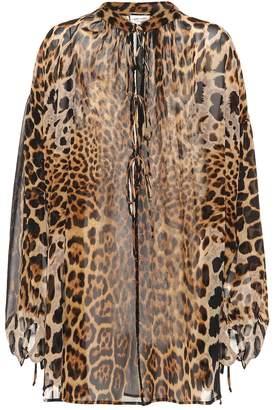 Saint Laurent Leopard-printed silk top