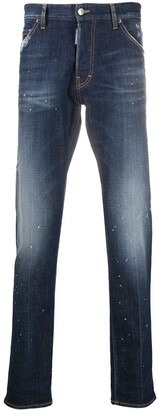DSQUARED2 Paint Splatter Straight-Leg Jeans
