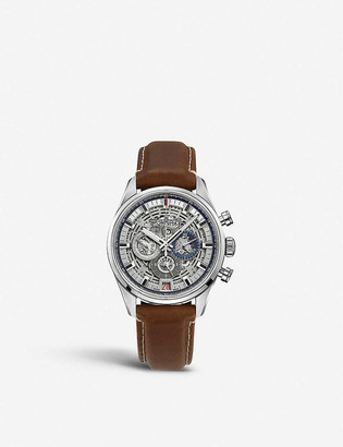 Zenith 03.2081.400/78.C813 Chronomaster El Primero Full Open stainless steel and croc-embossed calfskin-leather watch