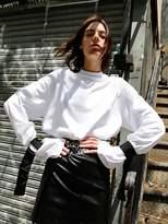 Strap Oversized Sleeve T-shirt (white)