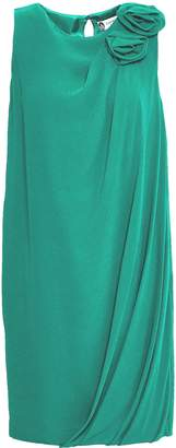 Lanvin Draped Floral-appliqued Silk-crepe Mini Dress