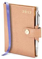 Aspinal of London Mini Pocket Week to View Leather Diary with Pen