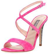 Sarah Jessica Parker Elektra Suede Crystal-Heel Sandal