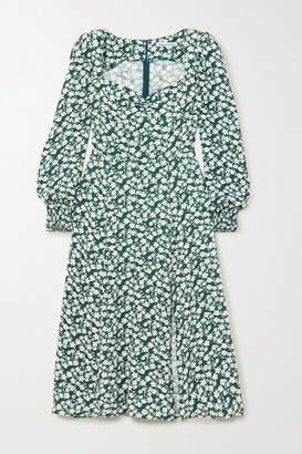 Reformation Wallflower Floral-print Crepe Midi Dress - Green