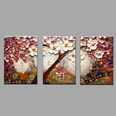 Paintings RTs TFs Hand Painted Oil Painting Modern Knife Tree Flower 3 Piece/set Wall Art with Stretched Framed Ready to Hang , include inner frame