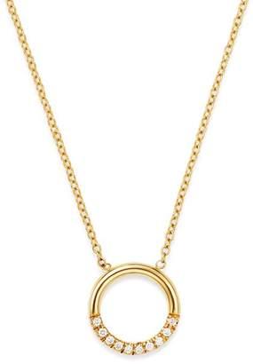 "Chicco Zoë 14K Yellow Gold Small Thick Circle Pavé Diamond Adjustable Necklace, 16"""
